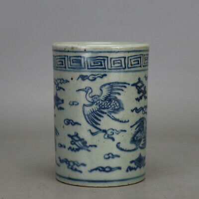 Chinese old hand-carved porcelain Blue & white phoenix pattern brush pot c02