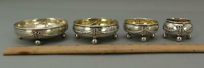 4 Small Antique German 800 Sterling Silver Graduating Open Salts