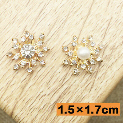 10Pcs Rhinestone Pearl Flower Flatback Craft Girls Hair Bow DIY Embellishment