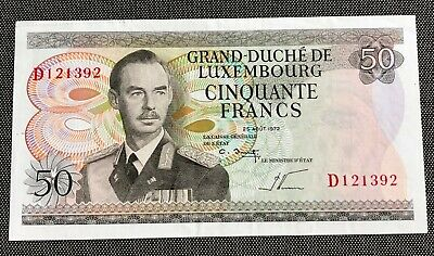 Luxembourg 50 Francs Note Uncirculated Condition & Highly Collectible Scarce