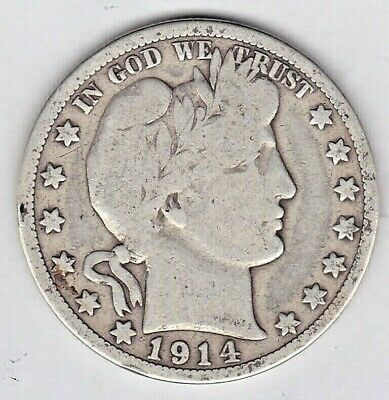 1914 S Barber Half Dollar grades VERY GOOD ONLY 992,000 MINTED stkab108