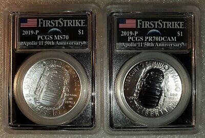 2019-P Apollo 11 50th Anniversary Silver $1 Dollar 2pc. Set PCGS MS70 / PR70 FS