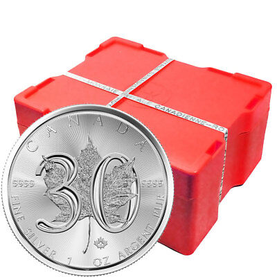 2018 $5 1 oz Canadian Silver Maple Leaf 30th Anniversary Coin .9999 Monster Box