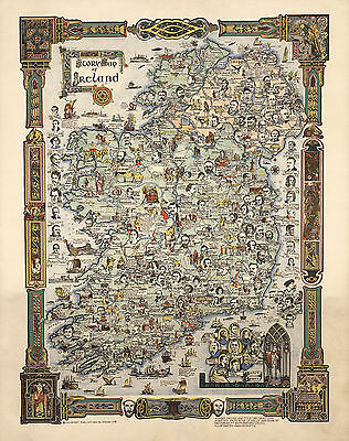 1936 Pictorial Story Map of Ireland Portraits Irish Historical Poster Vintage