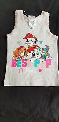 Girls new PAW PATROL twin pack singlets size 3-4