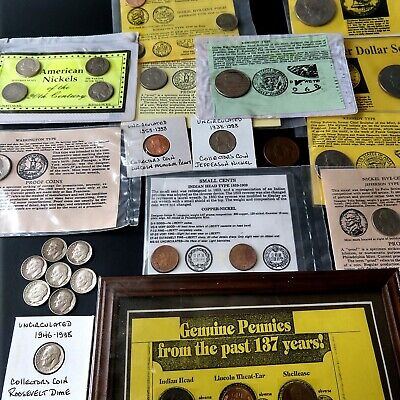Junk Drawer Lot Old US Coin Collection Vtg American Currency Dime Nickel Penny