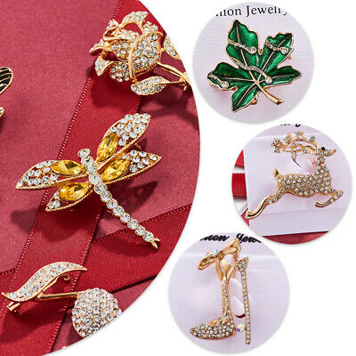 Alloy Butterfly Bragonfly Bird Metal Rhinestone Insect Banquet Brooch Jewelryset