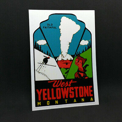 Wyoming  Moose Yellowstone Park    Vintage 1960/'s  style Travel Decal sticker