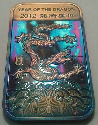 2012 Year Of The Dragon  1oz Silver Bar With Beautiful Toning, TONED.