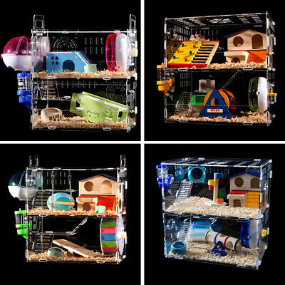 Hamster Acrylic Cage Clear 1-3 Layer Mice Gerbil Pet Castle Rat House Toys Bed