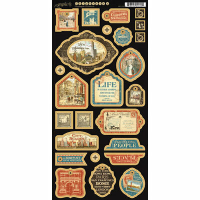"""G45 - Cityscapes -Chipboard Die-Cuts 6""""X12"""" - Sheet #2"""