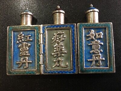 19Th Century China Chinese Silver Enamel Medicine 3 In One Folding Snuff Bottles