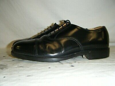 Mens Black Leather Parade Shoes British Army RAF Cadet With Toe Cap Size 7 L (1