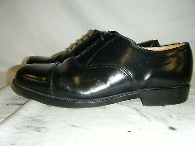 Mens Black Leather Parade Shoes British Army RAF Cadet With Toe Cap Size 7.5 M