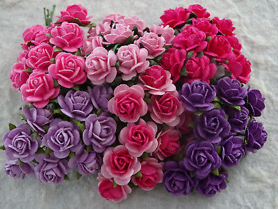 60 x 12mm paper ROSES MPR12PP PINKS & PURPLES Wedding Party Hair Decorations