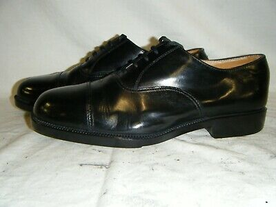 Mens Black Leather Parade Shoes British Army RAF Cadet With Toe Cap Size 8 M (5