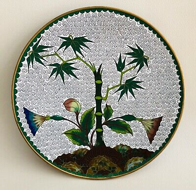 Chinese Antique Floral Bamboo Cloisonne Plate 7 1/2 in.