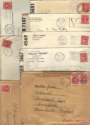 Canada 1941-45 Eight Wwii Censored Covers With King George Vi Issues