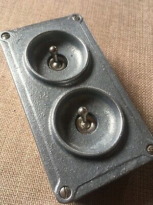 Vintage old Industrial Crabtree 2 Gang Galvanised Light Switch