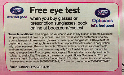 7826dae27a4 BOOTS OPTICIANS £10 Eye Test Voucher - £0.99