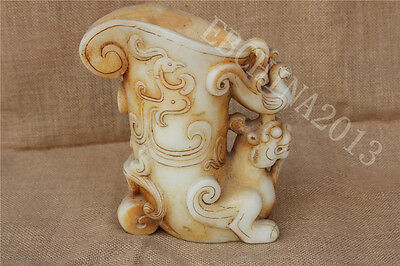 """9/"""" Old White Jade hand Carved dragon handle Wine glass tea cup pot"""