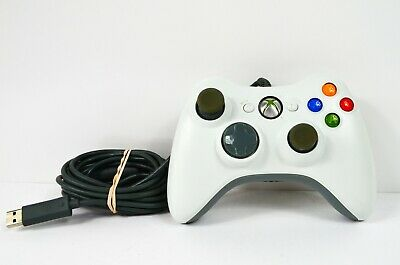 Official Xbox 360 Wired USB Controller Authentic Oem WHITE w/ breakaway cable