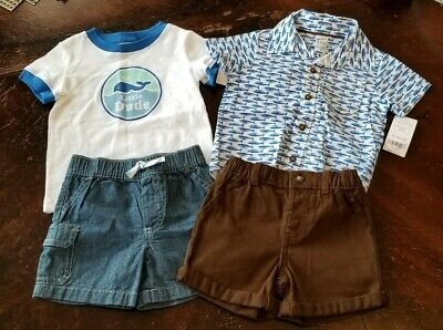 12 months Carters baby boy Cargo Jean Shorts Button Down Fish Shirt Brown Shorts