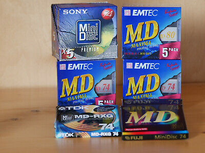 25 Recordable MiniDisc 80min 74min. Sony Emtec Fuji  Brand New Sealed