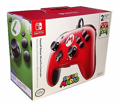 Faceoff Deluxe Wired Pro Controller Super Mario + Luigi Pad Nintendo Switch Pdp