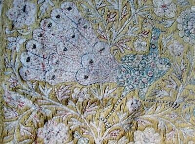 Vintage Antique Handmade PEACOCK Tapestry Blanket COVER Bedspread Throw YELLOW