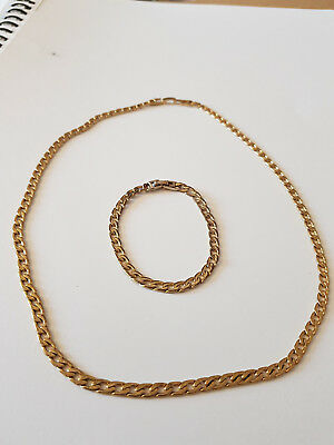 """Gold Plated Chain (21"""") and Bracelet (7.5"""") Set"""