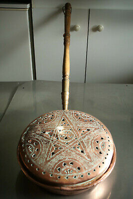 LATE 1800S VINTAGE FRENCH COPPER BED PAN Brass /Wood Handle 29cm/11.42inch