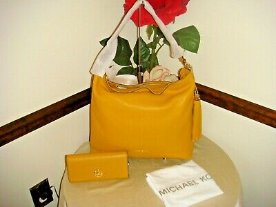 53aeb407807a NWT 2Pc Michael Kors BrooklynLarge Leather Shoulder bag Marigold/Yellow &  wallet