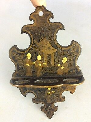 Rare Lacquered Oriental Pipe Holder Ship Worldwide