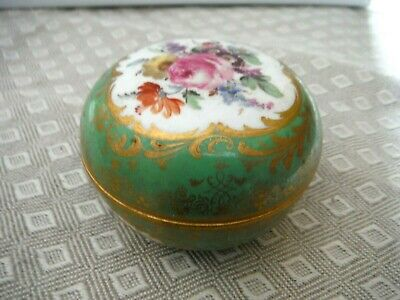 Antique Meissen Porcelain Lidded Trinke Box Hand Painted, early 19th C mark VGC