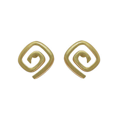 ACROSS THE PUDDLE 24k GP Pre-Columbian Long Life Square Spiral Stud Earrings