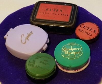 2 Vintage Cutex Cake & Paste Polish Tins, Cyclax,Cashmere Bouquet Rouge Pots Etc
