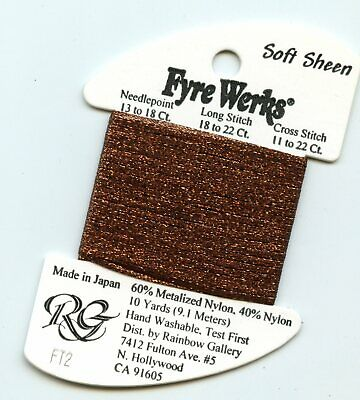"Rainbow Gallery Fyre Werks Soft Sheen FT2 Chocolate 1/16th"" metallic ribbon 10yd"
