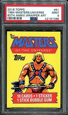 2018 Topps 80th Anniversary Wrapper Art 91 1984 Masters Universe SSP /224 PSA 9