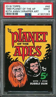 2018 Topps 80th Anniversary Wrapper Art #46 ~ 1969 Planet Apes /304 ~ PSA 9 MINT