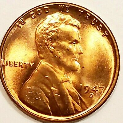 1947-D, Lincoln Wheat Cent Penny BU Gorgeos, CH, GEM Nice Luster From OBW Roll
