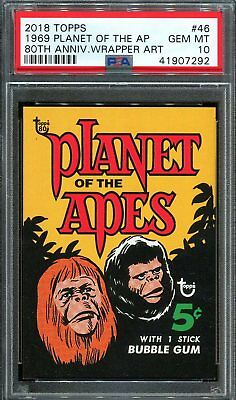 2018 Topps 80th Anniversary Wrapper Art #46 ~ 1969 Planet Apes /304 ~ PSA 10 GEM
