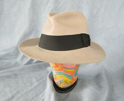 407b9ed03fd13 The Untouchables Collection Tan Wool Fedora Hat Men s Size Medium Vtg Made  Usa
