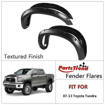 """FOR 07-13 TUNDRA 4PCS SMOOTH BLACK THERMO ABS WHEEL FENDER FLARES SET 2/"""" COVER"""
