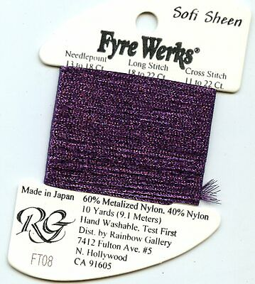 "Rainbow Gallery Fyre Werks Soft Sheen FT8 Dark Violet 1/16th"" metallic ribbon"