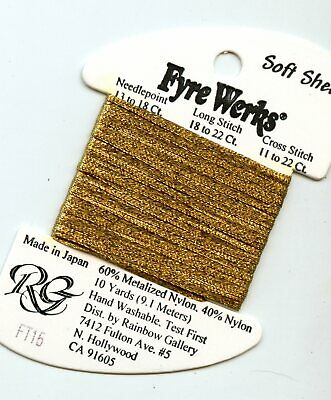 "Rainbow Gallery Fyre Werks Soft Sheen F15 Old Gold 1/16th"" metallic ribbon"