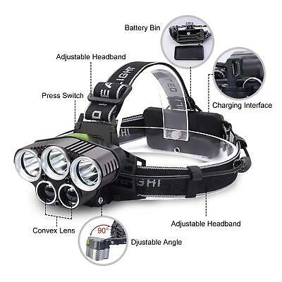 Hiking 90000LM 5X T6 LED Headlamp USB Rechargeable Head Light Torch Lamp USA