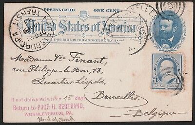 USA 1893 Postal Card From Wormleysburg PA. To Bruxelles Belgium VF