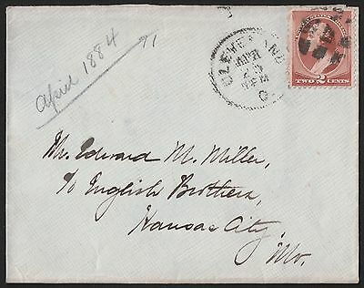 USA 1884 Cleveland Ohio To Kansas City Missouri Cover. VF