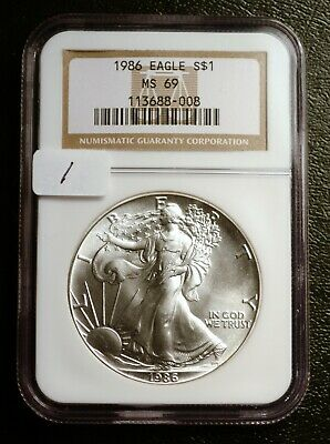 "1986 ""First Year of Issue"" Silver $1 ASE American Eagle NGC MS69 $90 VALUE (#1)"